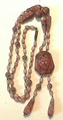 Antique Chinese Pink Glass Beads and Carved Buddha Pendant Necklace