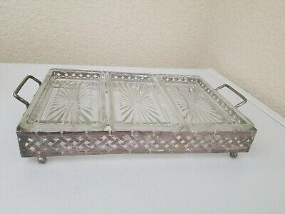 Vintage Silver Plate Footed Serving Tray Condiment Glass Inserts Leonard