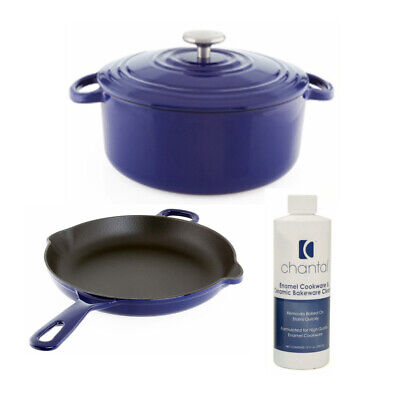 Chantal Cast Iron Enamel 10-Inch Skillet with Dutch Oven and Cleaner Bundle