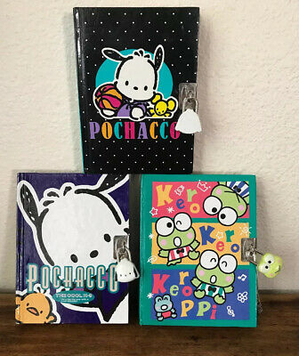Vintage Sanrio Co Pochacco keroppi Diary Notebook Key Lock Book 1990's