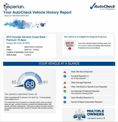 Authentic VIN # Check lookup Auto Check Only like car fax