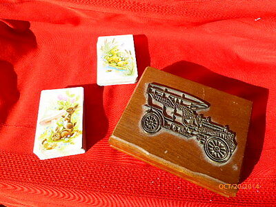 Wood Playing Card Holder Box 2 Decks Wooden Antique Metal Car On Lid Swap 1986