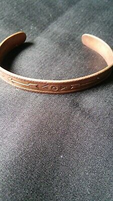 Vintage 1950's Native American Indian Solid Copper Cuff Bracelet