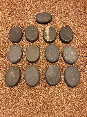 Preowned Basalt  Massage Hot Warmer  Stones 13 Pieces front & back sides stones
