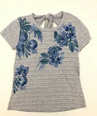 NWT Women's LUCKY Brand Sz S Striped Floral Short Sleeve Tie Neck Open Back Top