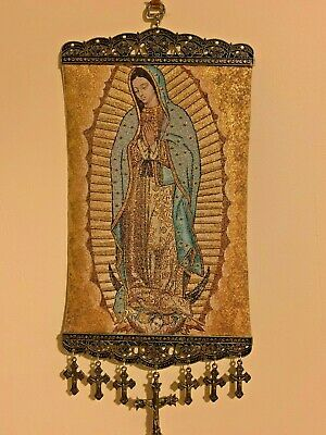Religious icon banner our lady of Guadalupe Mary Pure Cotton with Gold Yarn Wall