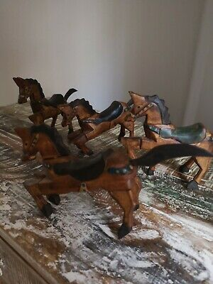 Hand Carved Wood Wooden Figures Horse Man Animal Primitive Folk Art Vintage
