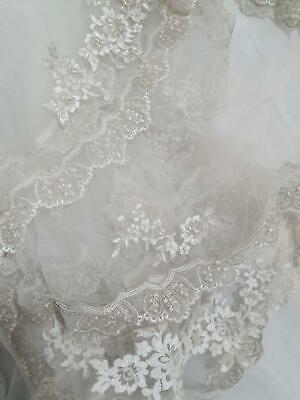 Demitrious Wedding Veil with detailed floral and peak embroidery