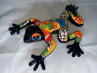 """Mexican Folk Art Talavera Hand Painted Pottery Frog Wall Lizard 14"""" Hand painted"""