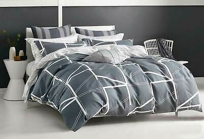 Single Double Queen King Hailey Grey quilt cover 100% COTTON doona cover set