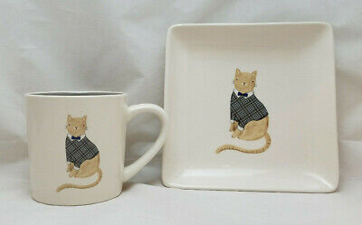 Rae Dunn Cat Mug and Plate Set Plaid Sweater Bow tie Magenta