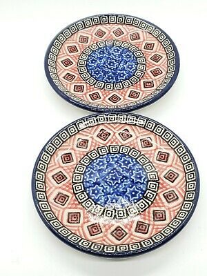 """HAND PAINTED POLISH CERAMIC POTTERY PEACOCK DINNER PLATE SET OF 2 small 4"""""""