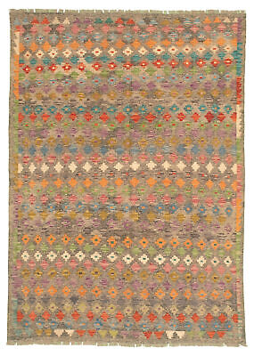 "Hand woven Turkish Kilim 5'9"" x 7'10"" Bold and Colorful  Flat Weave Rug"