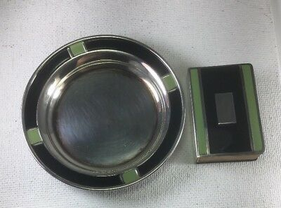 Antique Webster Co Sterling Silver 2 Color Enamel Ashtray & Match Holder Set