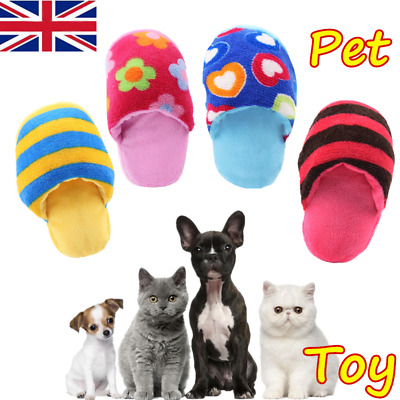 Pet Dog Cat Puppy Play Toy Slipper Shape Squeaky Squeaker Small Chew Sound Plush