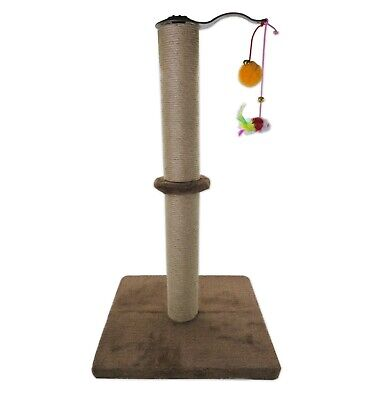 Cat Scratching Post Cylinder Pole Kittens Play Toys Plush Sisal Scratcher Brown