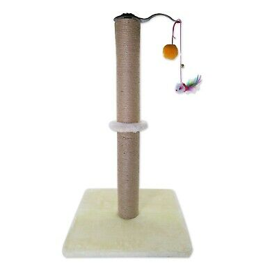 Cat Scratching Cylinder Pole Kittens Interactive Toy Plush Sisal Scratcher Beige