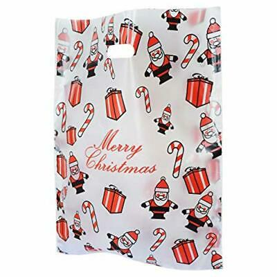 Small Bio Degradable Plastic Santa Christmas Carrier Bags Xmas Claus Gift Shop