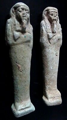 2 Antique amulet shabti oushebti egyptian funerary figure basse epoque