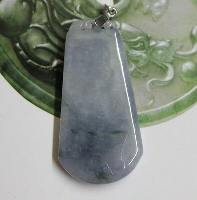 Natraul Jade CERTIFIED (A) Icy Lavender Green Jadeite Carved Safety Pendent 18K
