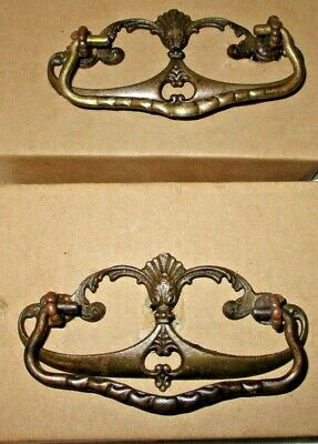 2 Antique Victorian Open Scroll Brass Drawer Pull w/Iron Drop Handle