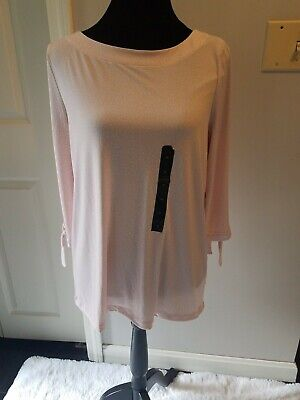 Pink with white polka dot Split Sleeve Top, Womens Size M