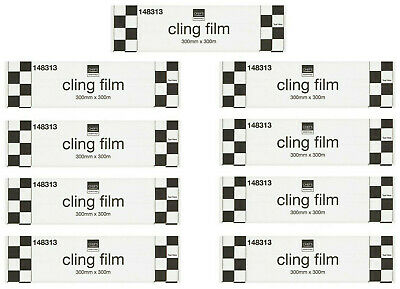 9 Rolls Catering 300mm x 300m Chefs Essentials Cling Film Wrap Food Cover
