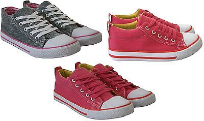 New Childrens Girls Kids Flat Plimsolls Pumps Canvas Lace Up Trainers Shoes
