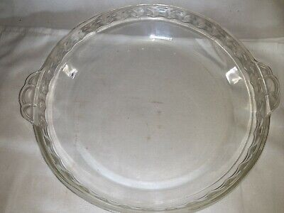 """Vintage PYREX 229 Clear 9.5"""" Deep Dish Pie Plate Fluted Edge Early Marking USA"""