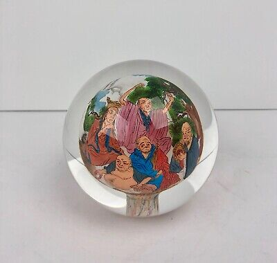 Chinese Glass Ball Paperweight Reverse Painted Scene With People Signed