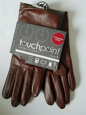 NEW Fownes Touchpoint Womens 100% Cashmere Lined Brown Leather Smart Gloves M