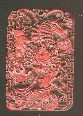 Antique Ming Dns. Hand Carved Cinnabar Two Sided Dragon Pendant