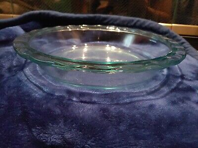 """Vintage Pyrex Deep Dish Clear Glass 9"""" Pie Plate Fluted Scalloped Edge #228"""