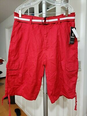 Akademiks Men's Twill Solid Cargo Summer Relaxed Casual Shorts Pants with Belt