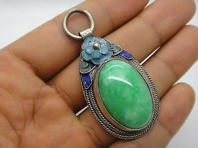 China tibet-silver inlay Natural green jade enamel Cloisonne blue Flower Pendant