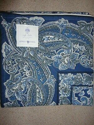 "APRIL CORNELL TABLECLOTH TABLE TOPPER 36"" x 36""  BLUE PAISLEY COTTON NEW!"