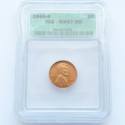 1944 S 1C ICG MS 67 RD Lincoln Wheat Cent Mint State Gem Red Penny BU LOT#I06