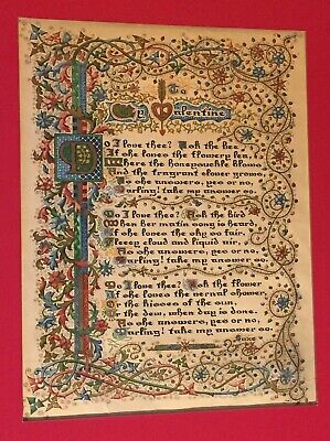 Antique Illuminated Manuscript Poem - Valentine On Parchment -Renaissance?