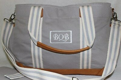 PotteryBarn Gray Polyester & Leather Classic Diaper Bag NWOT Free Ship MSRP $149