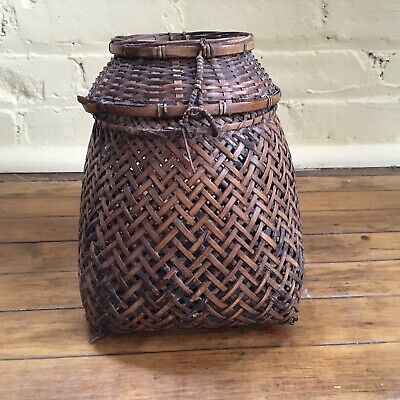 Antique Japanese Hand Made Bamboo Fishing Basket  Meiji Period Late 18 - 19th C