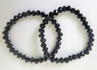 6x4mm Black Faceted Glass Crystal Stretchy Bracelet. (Choice of Length) ML