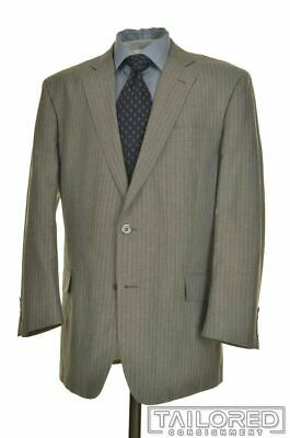 BROOKS BROTHERS Regent Gray Striped LINEN WOOL Jacket Pants SUIT Mens - 44 R