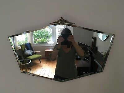 Vintage 1930s Art Deco Frameless Unusual Shape Bevelled Wall Mirror with Crest