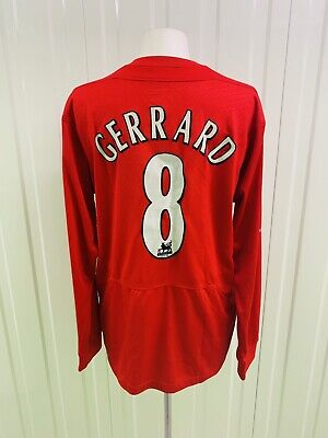 Liverpool 2004/2005 Home Football Shirt Jersey Reebok #8 Gerrard Long Sleeve