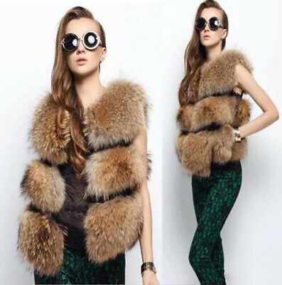 Women's Fur Vest Sleeveless Costume Real Vest Raccoon Dog Vest Grace &