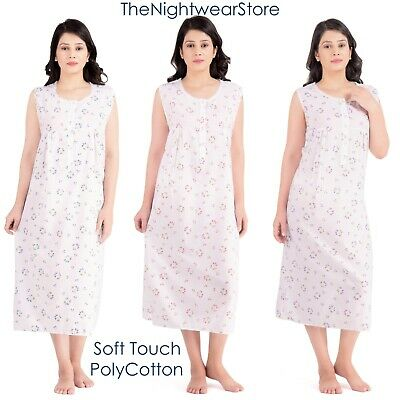 Ladies PolyCotton Floral Nightdress Sleeveless Nightie for women sizes 12 to 28