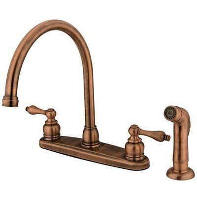 Antique Copper Victorian Lever Handle Goose Neck Kitchen Faucet with Matching
