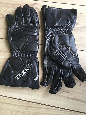 TEKNIC Black Leather Padded MOTORCYCLE GLOVES,BLACK XXL Fit Large VGC