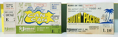 2x Vintage Ticket Stubs St James Theatre Brisbane South Pacific & Can-Can!