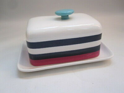 JOULES classic Stripe design ceramic butter dish
